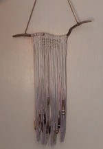 Macrame and Sea Urchin Spine Wall Hanging - Product Image