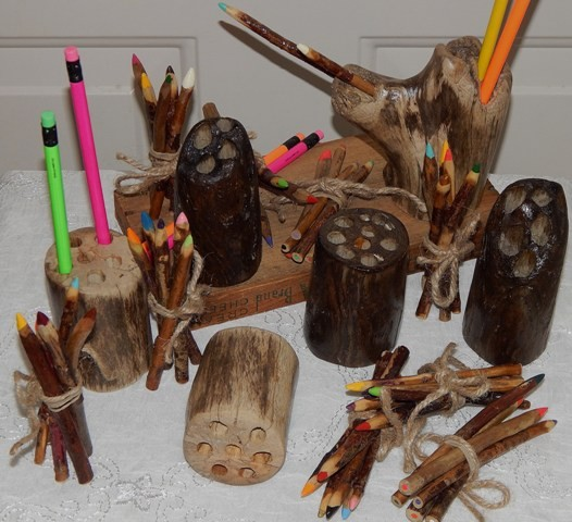 Driftwood Pencil Holder & Colored Pencils Set - Product Image