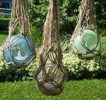 Summer Macrame' - Sea Glass Ball Candles - Product Image